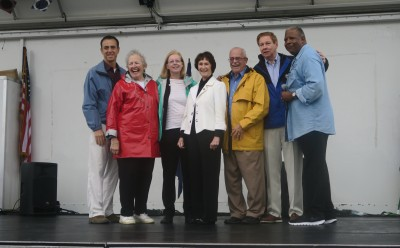 Left to right: Del. Marcus Simon, Supervisor Penny Gross, school board chair Sandy Evans, Board of Supervisors chair Sharon Bulova, Rep. Gerry Connolly, Tom Davis, and Rev. Clarence Brown, senior pastor of Annandale United Methodist Church, and chair of the Taste of Annandale Steering Committee.